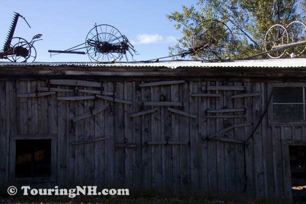 Where to put the old farm equipment?  On the roof of the barn, of course!