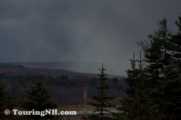 Snow squall coming in over the airport