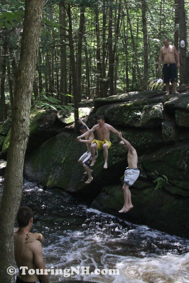 Fun at the swimming hole just below the bridge 2011