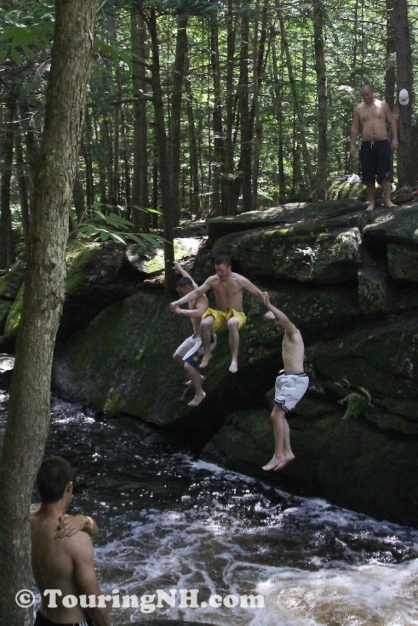 Fun at the swimming hole just below the bridge 2011